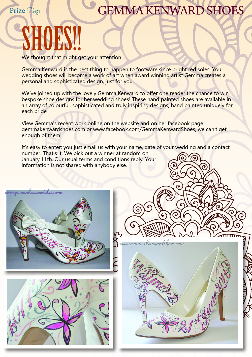 Hand Painted Wedding Shoes by Gemma Kenward competition with Something Borrowed Magazine