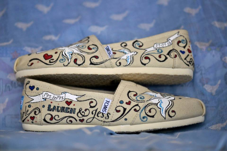 Customised Wedding Toms - Hand painting the shoes for the two brides was so enjoyable