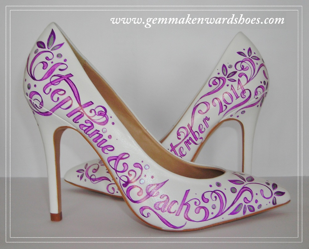 Hand Painted Purple and Silver Colour Scheme for a Wedding Shoe