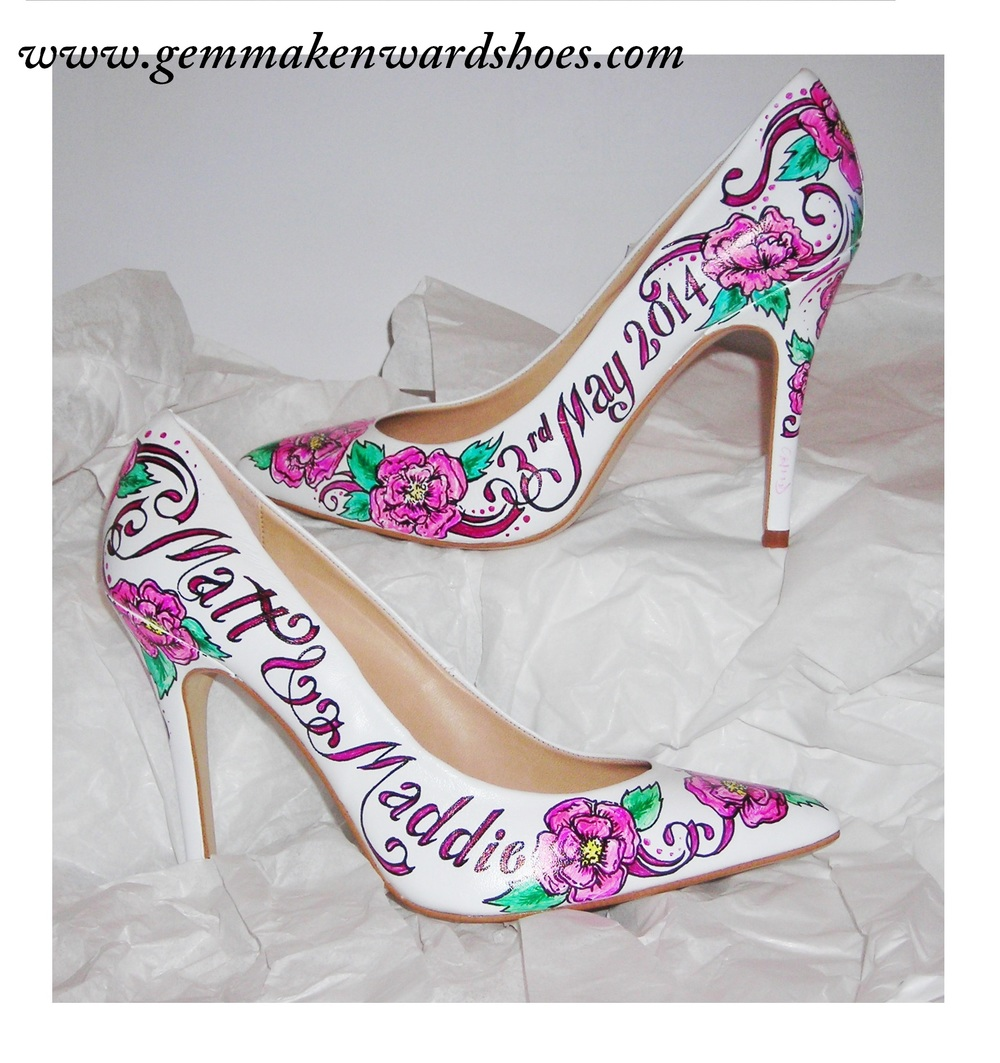 Comfy court shoes hand painted with flowers and tattoo-esque flourishes.