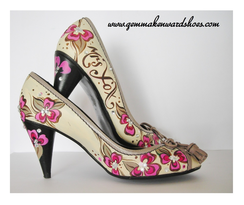 Hand Painted Wedding Shoes with flowers and diamantes