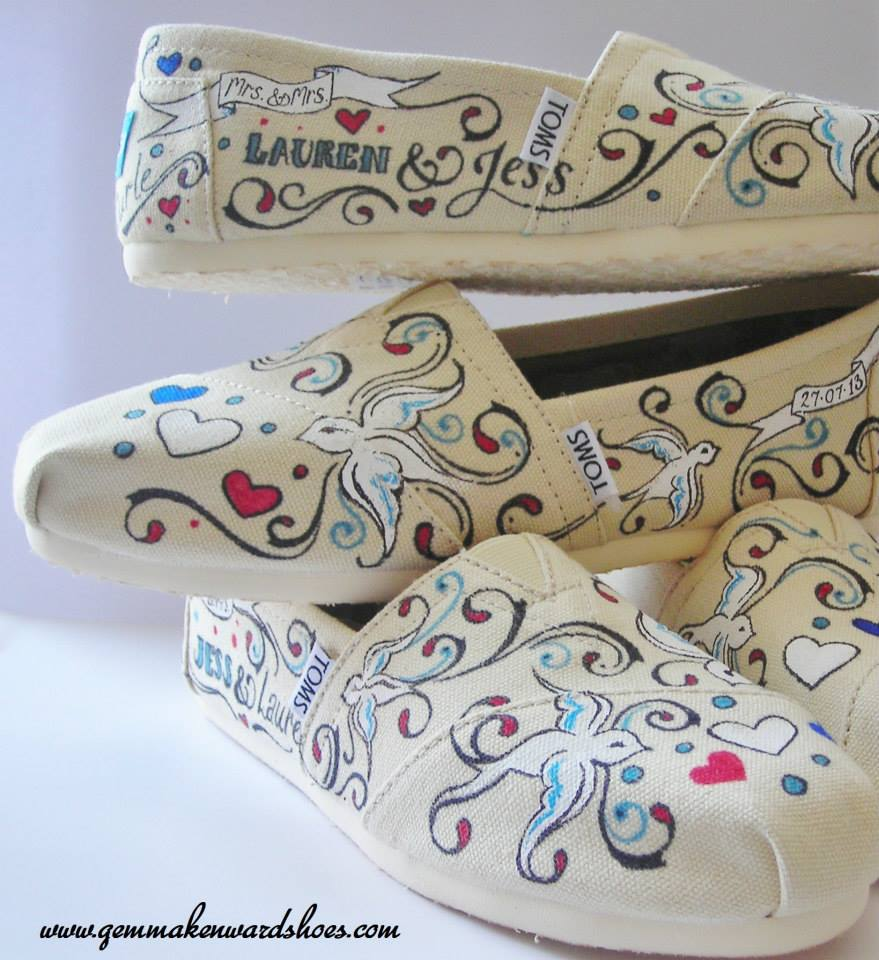 Customied wedding Toms for two gorgeous 2013 brides