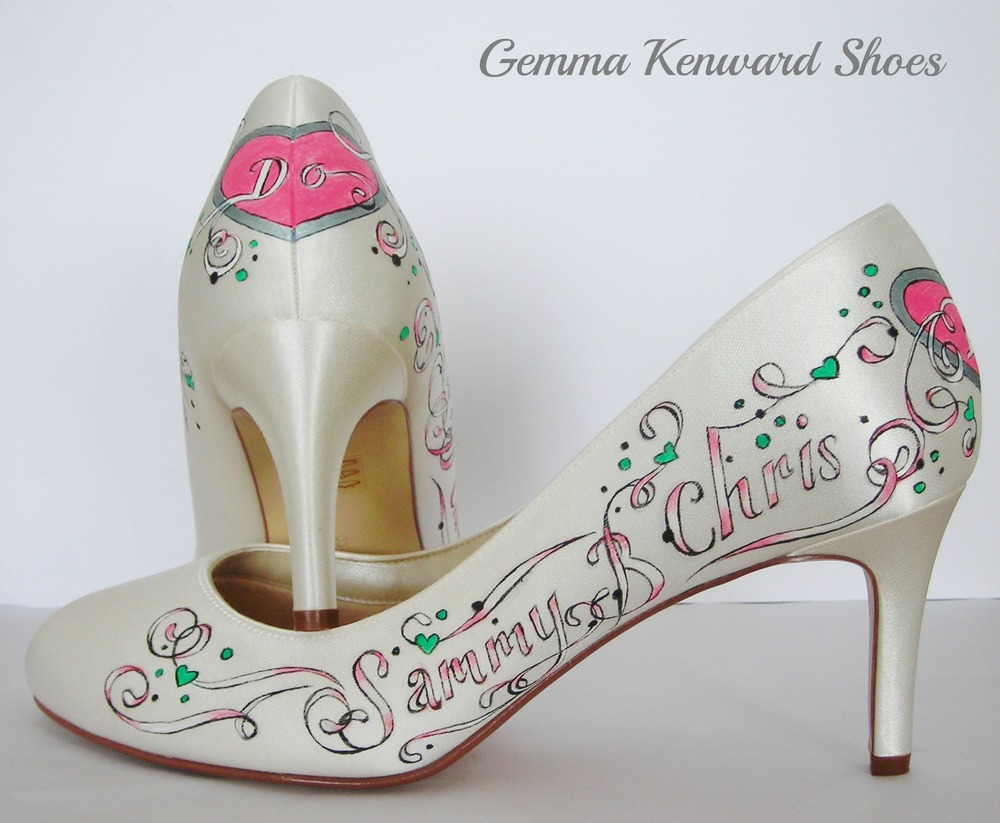 Pink hearts and green scroll hand painted wedding shoes