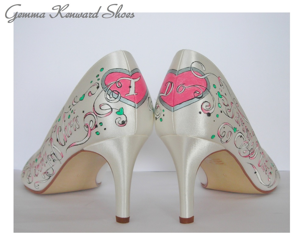 Ivory wedding shoes painted with pink and greens and satin white.