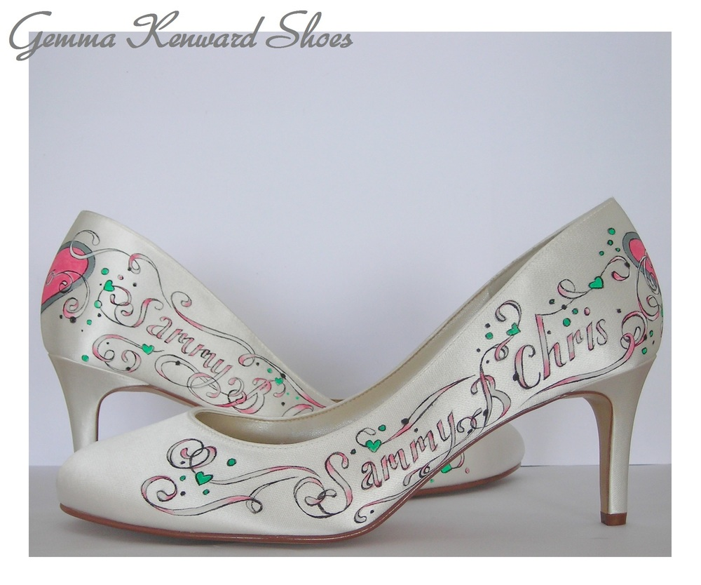 Sammy and Chris's wedding shoes personalised for their big day