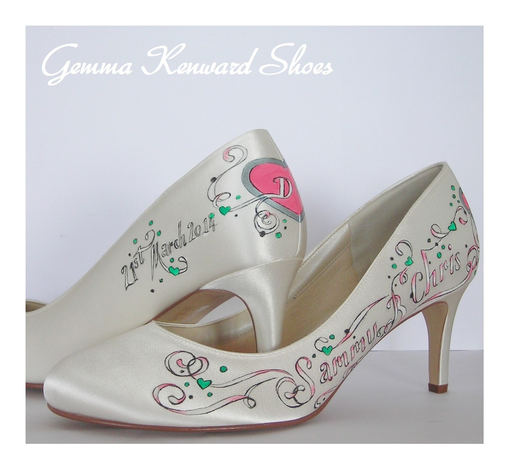 Hand painted ivory satin court shoes.