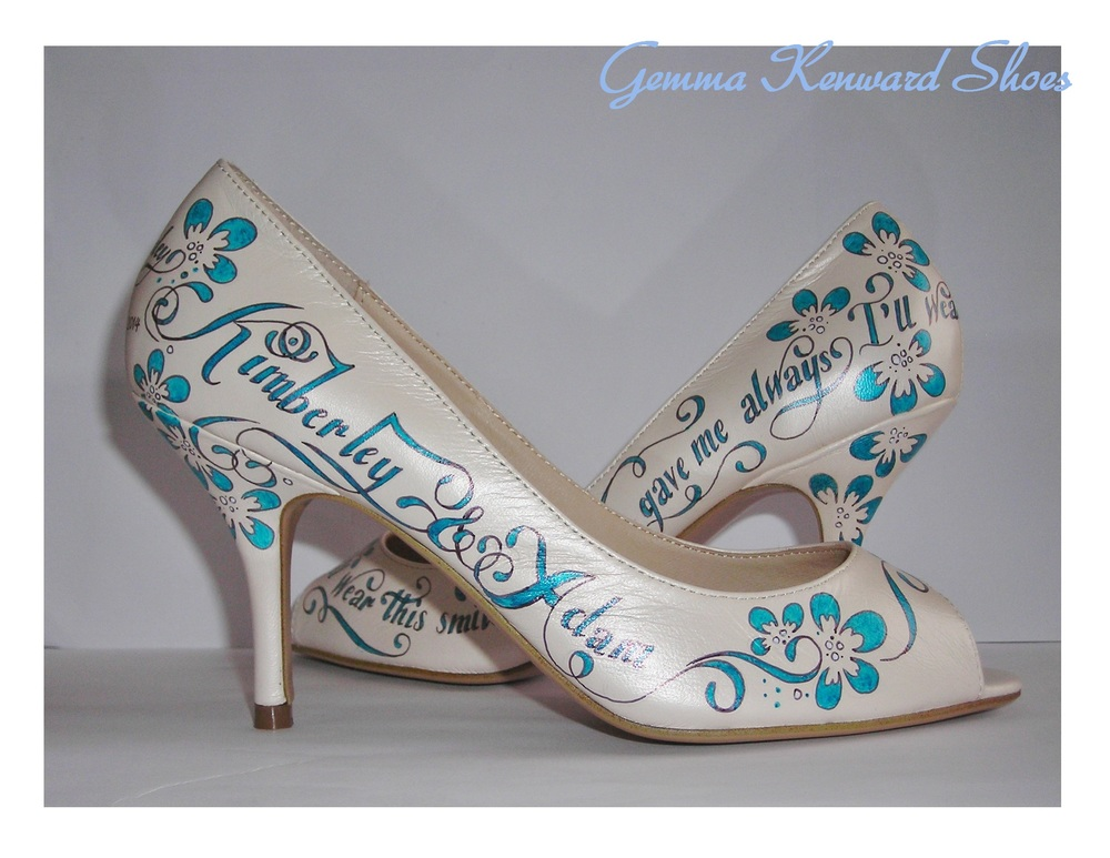 Blue, cream and white hand painted wedding shoes