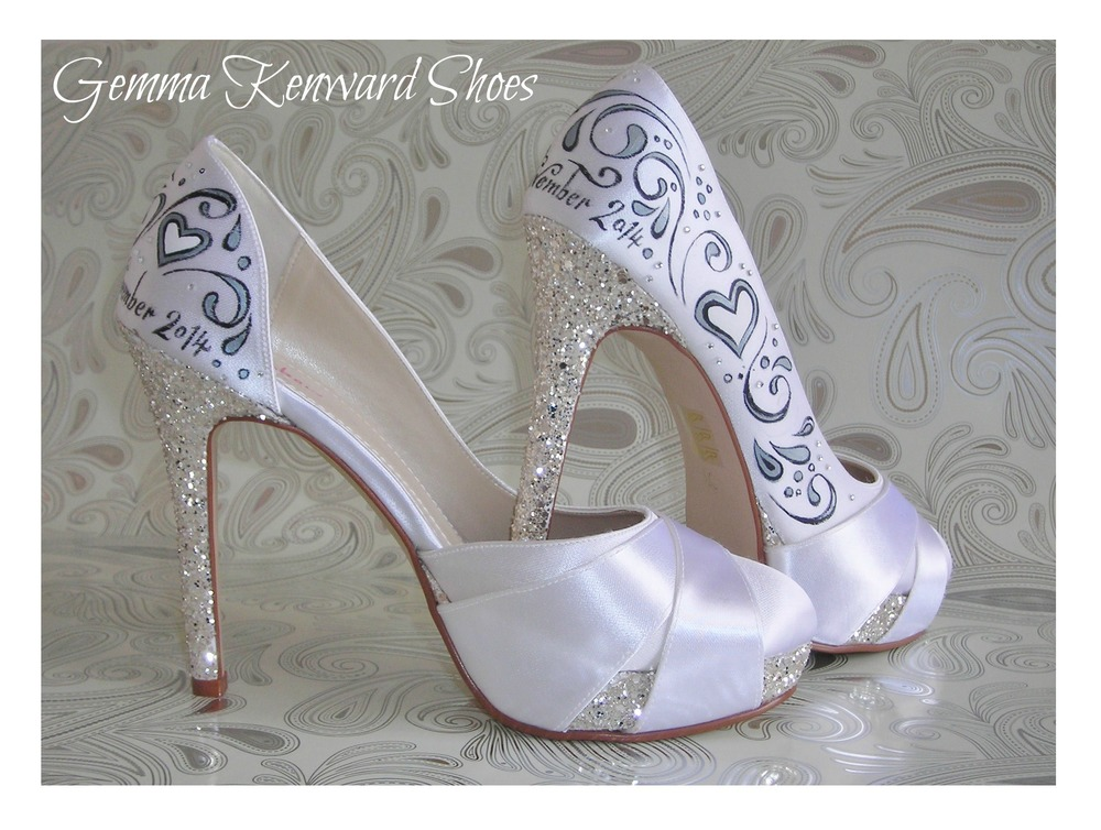 Black, white and silver painted wedding wedding shoes with diamantes