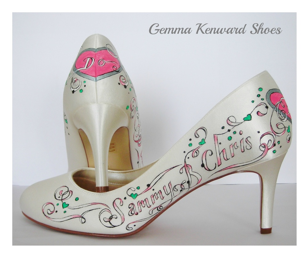 White, pink and green custom painted wedding shoes.