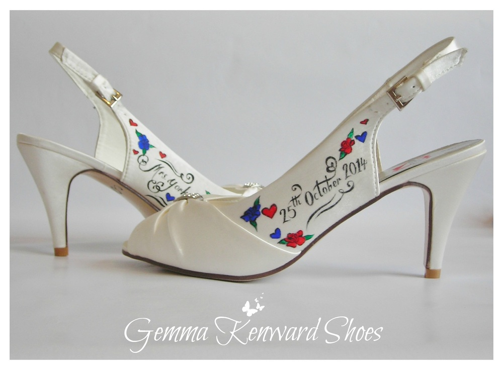 Customised painted wedding shoes