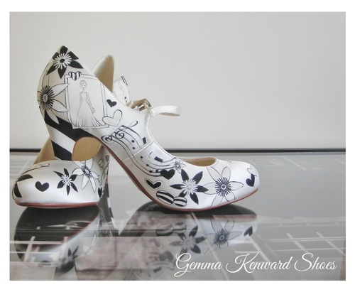 213eb2a85d59 ... we hand painted on her bridal shoes. image image
