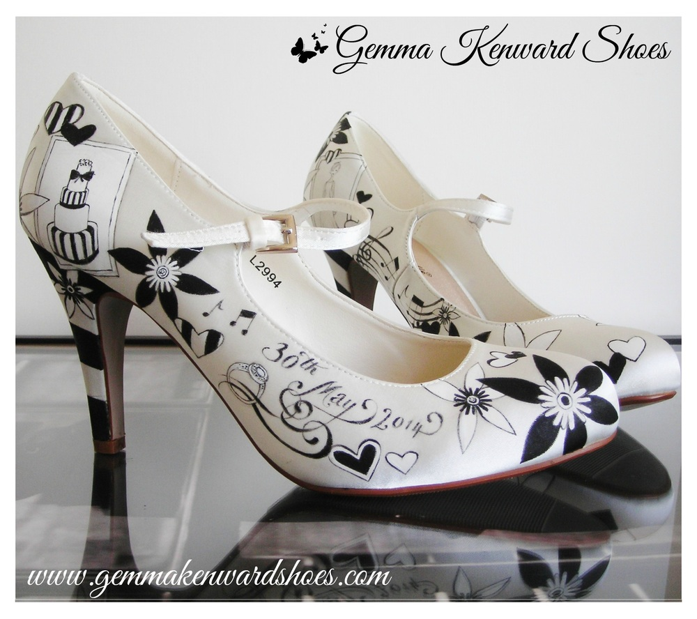 Black and white customised wedding shoes with wedding ring and wedding cake - Fantastic black and white wedding cake creation!