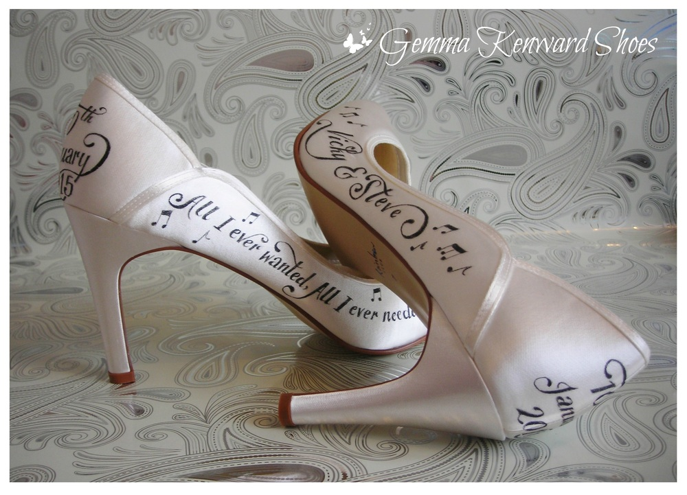 Hand Painted Wedding shoes with black paint for a 2015 wedding day.