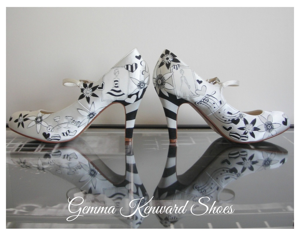 Mad hatter tea party hand painted wedding shoes with striped heels in black and white.