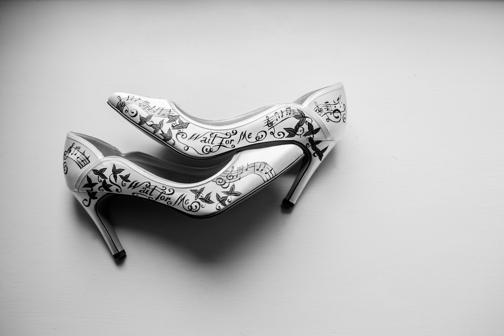 Andy Hudson photographed Sarah's Hand Painted Wedding Shoes