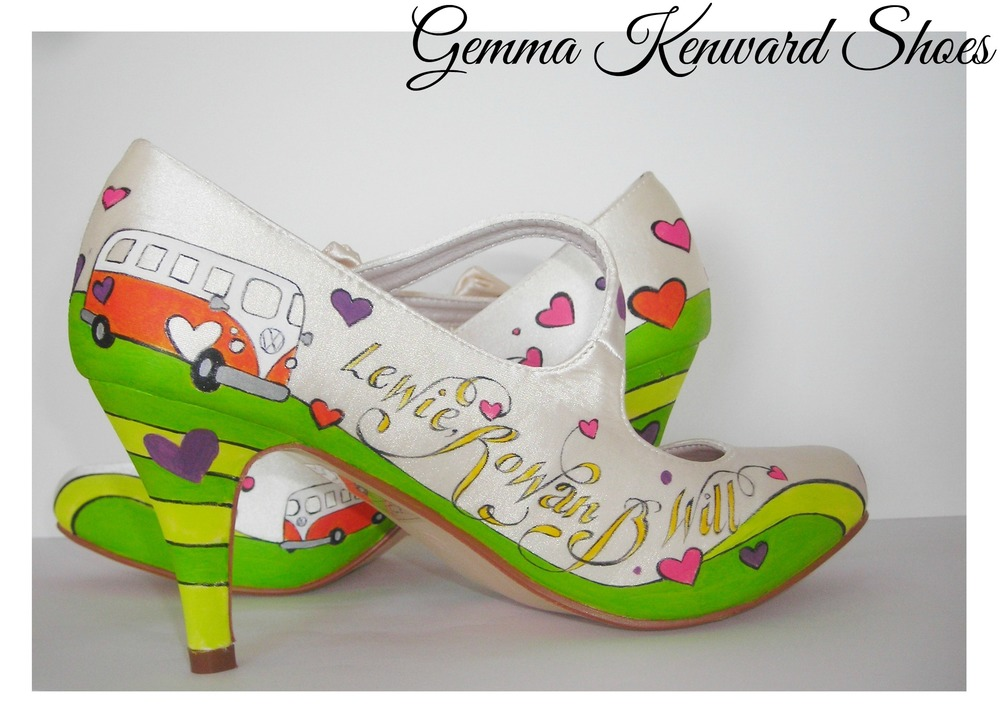 Hand Painted Wedding Shoes With Lime Green Rolling Hills And Orange  Campervans