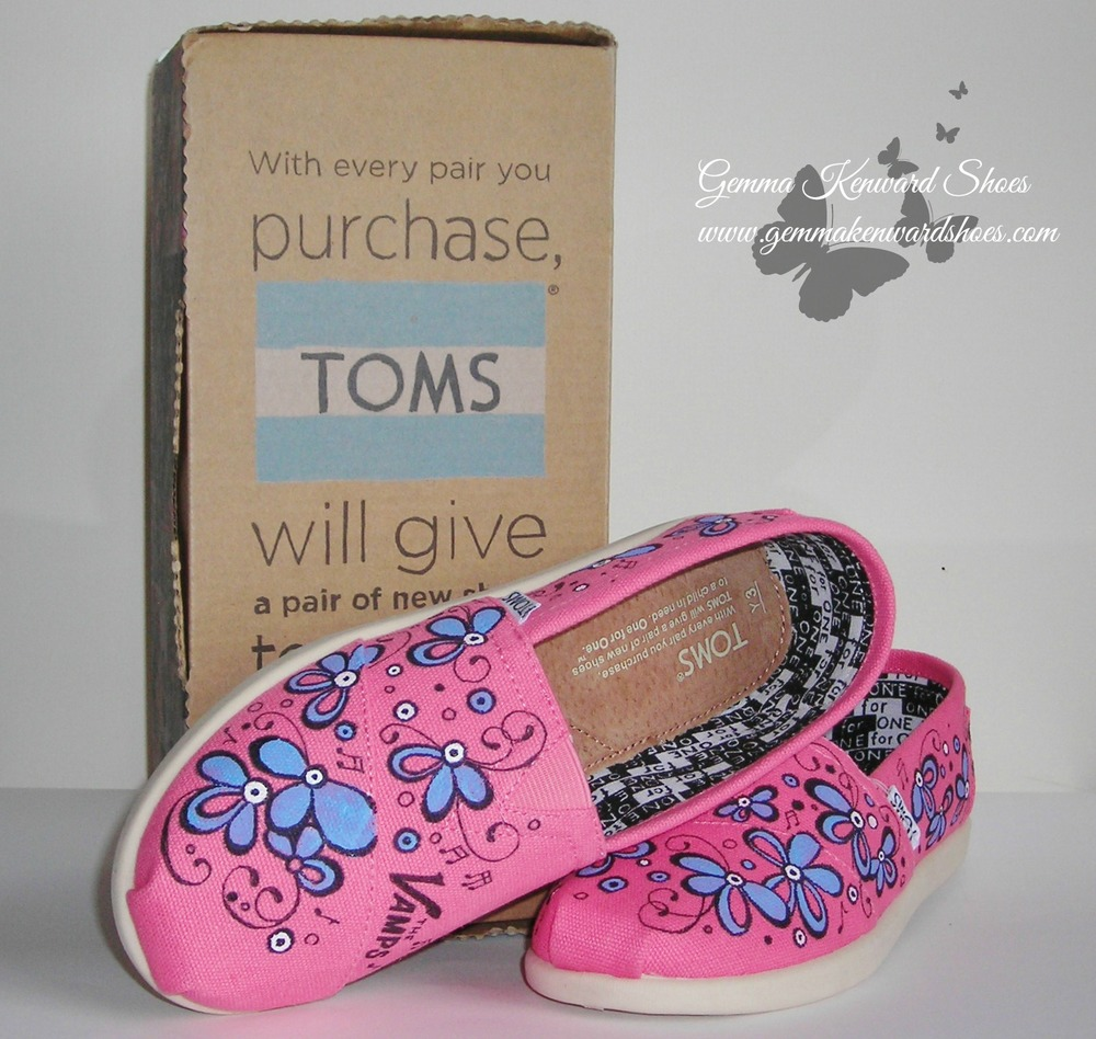 Hand Painted children's Toms / Shoes in pink, lilac and The Vamps logo
