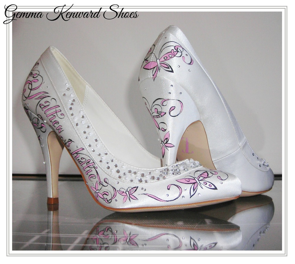Personalised painted wedding shoes with butterflies, dates and names