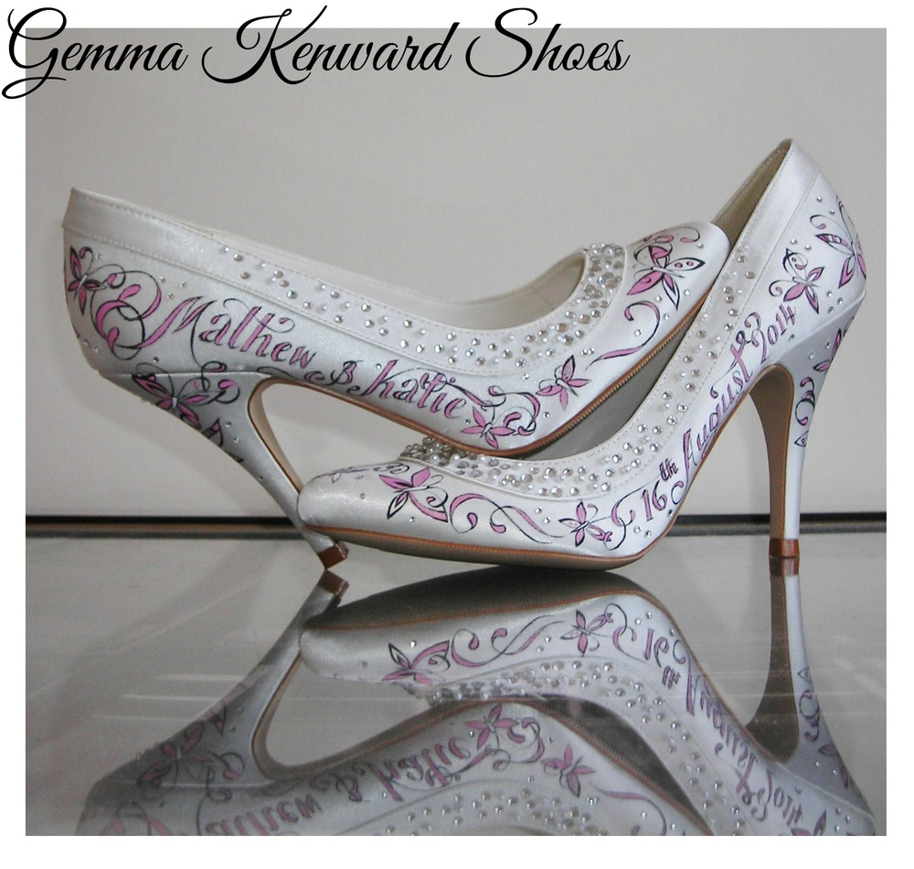 Hand painted bridal shoes for a pink themed wedding