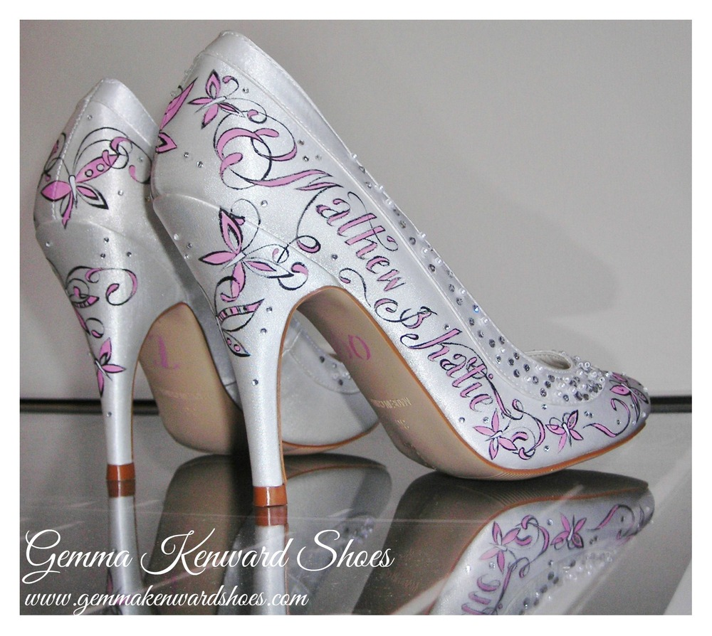 Hand Painted Rainbow Club Satin Wedding Shoes