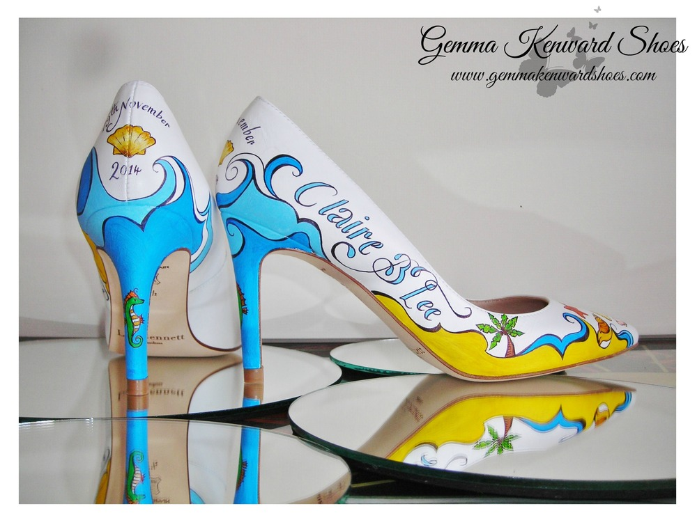 Hand Painted Wedding Shoes with palm trees and the beach.