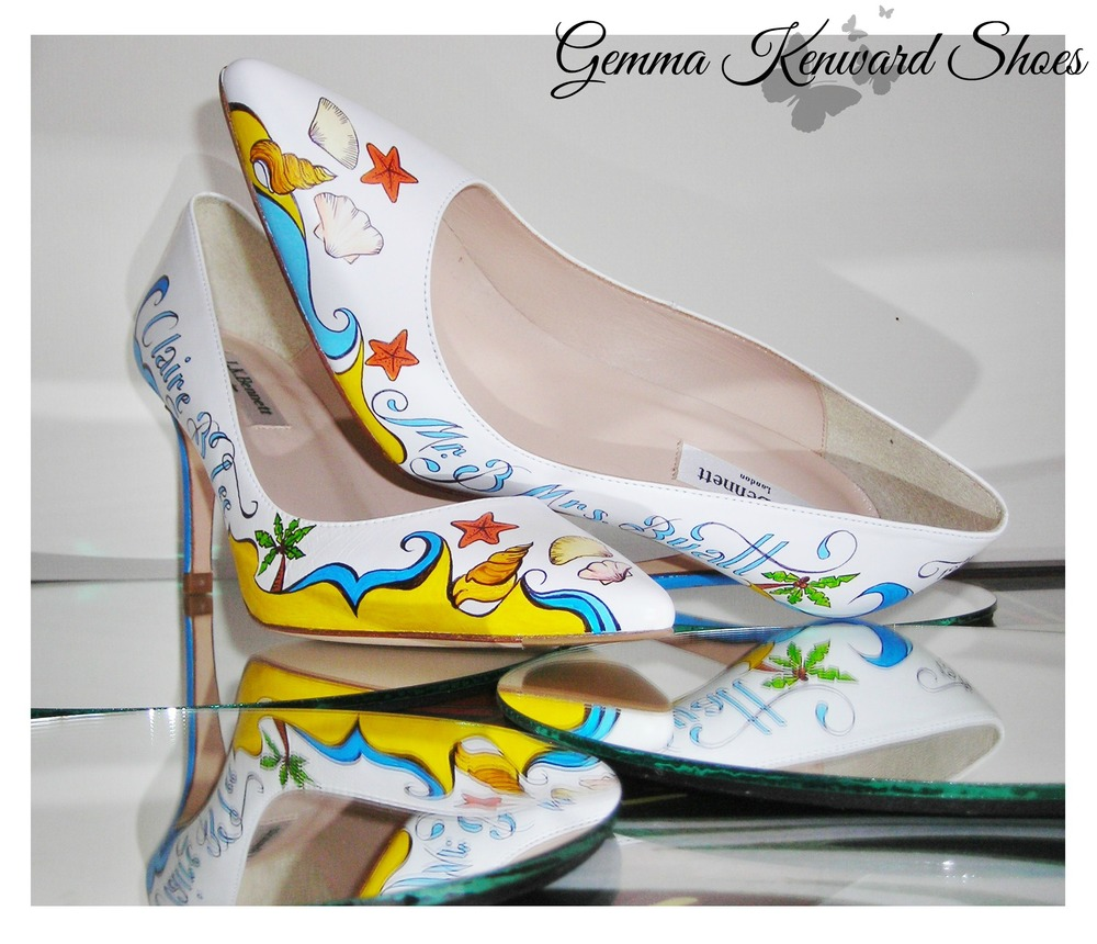 Hand Painted Bridal Shoes with Shells, Palm Trees and Seahorses
