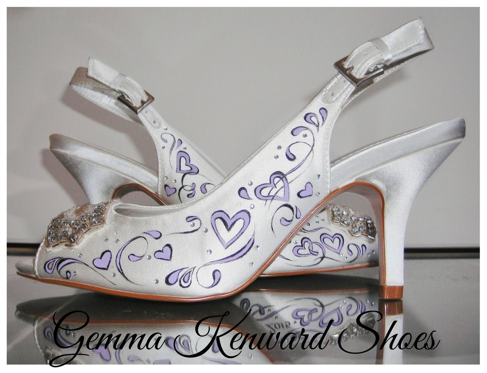 Sling back wedding shoes painted with hearts