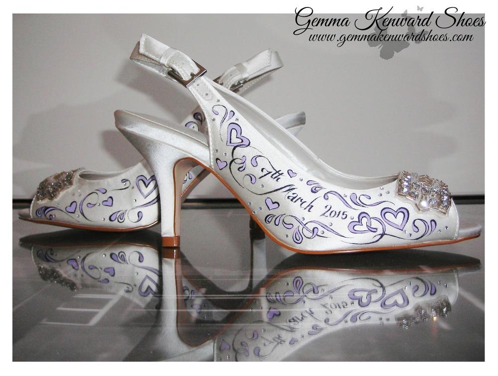 Lilac purple hand painted wedding sling backs