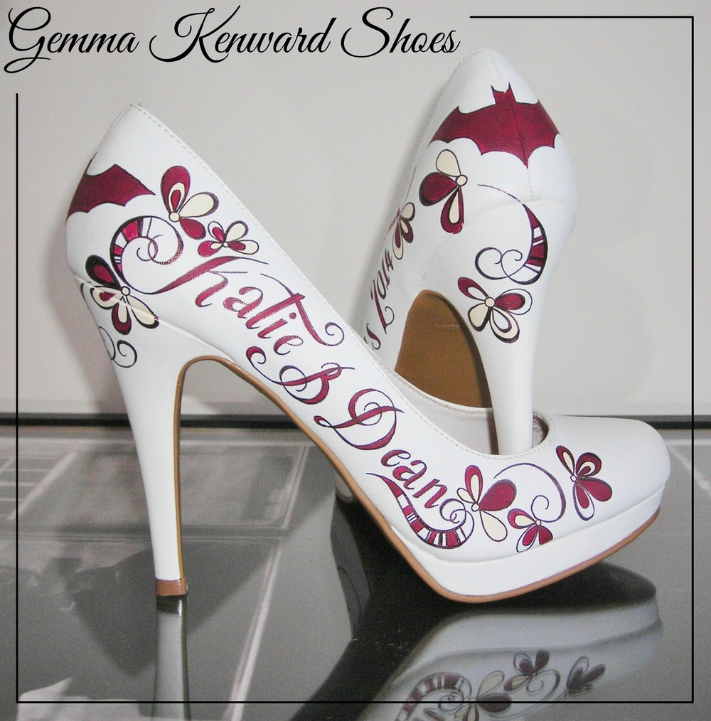 Hand painted wedding batman shoes in Burgundy, White and Cream
