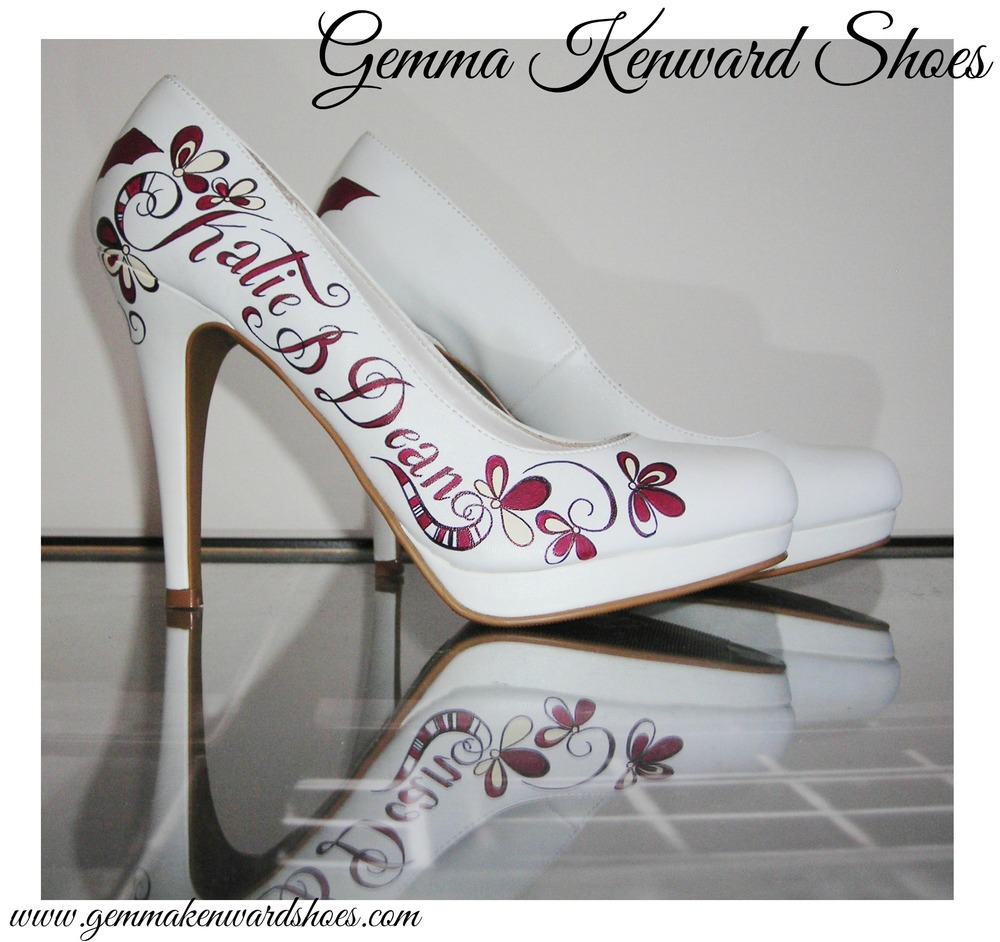 Hand painted bespoke wedding shoes custom painted with batman symbols and burgundy flowers