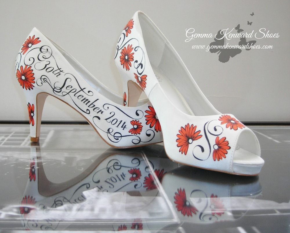 Hand Painted customized wedding shoes with orange gerbera flowers.JPG