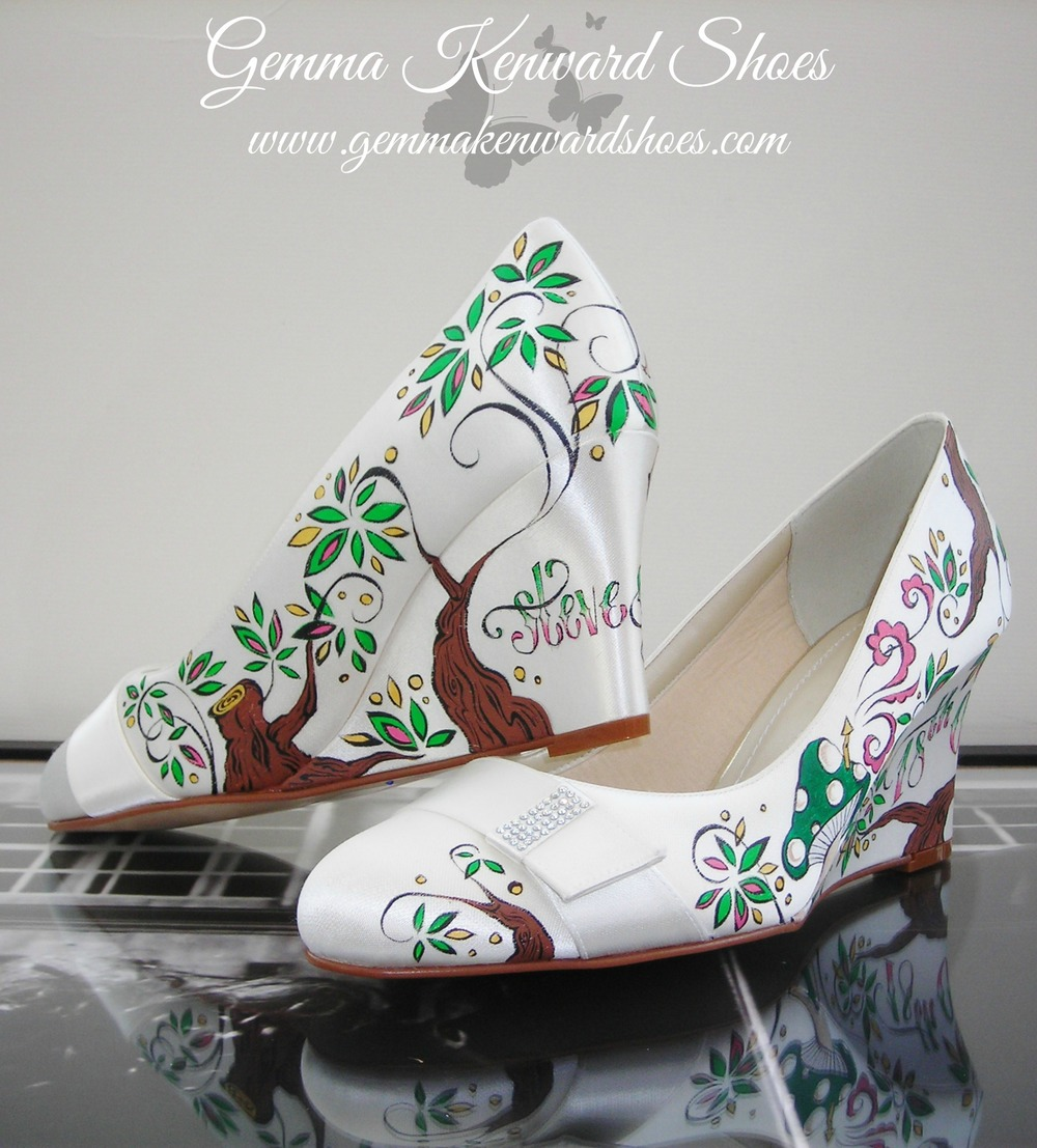 Customised Wedding Wedges in Green and Pink