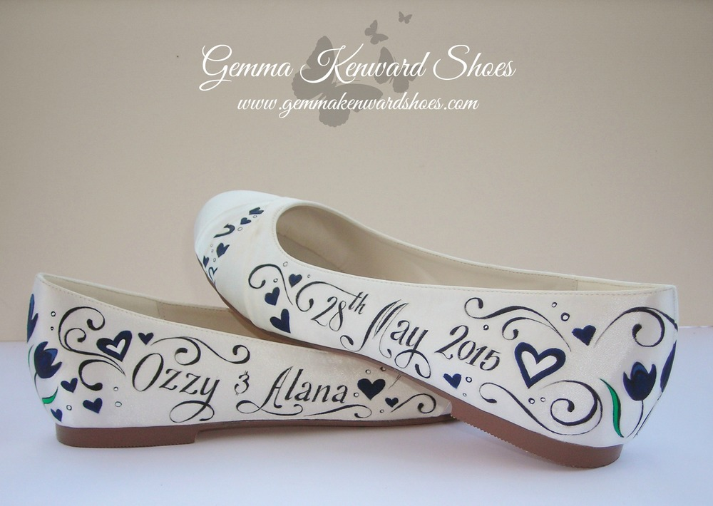 hand painted flat bridal wedding shoes.JPG