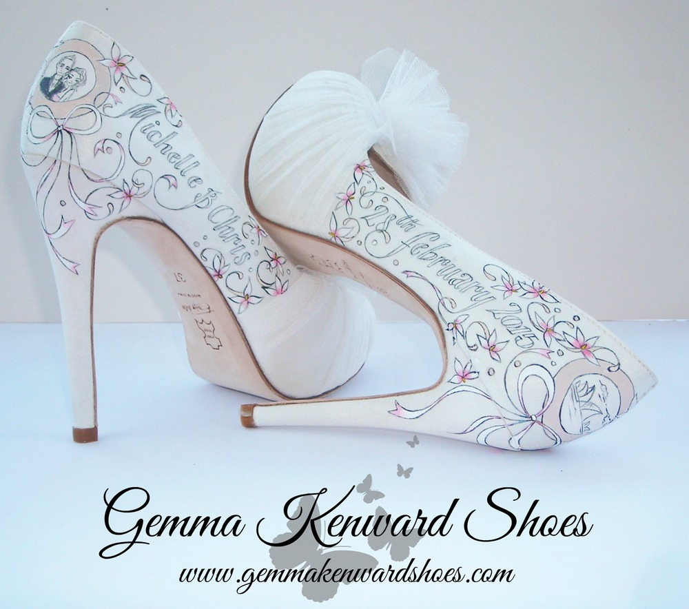 Hand Painted pink and white and grey wedding shoes for bridal shoes .jpg