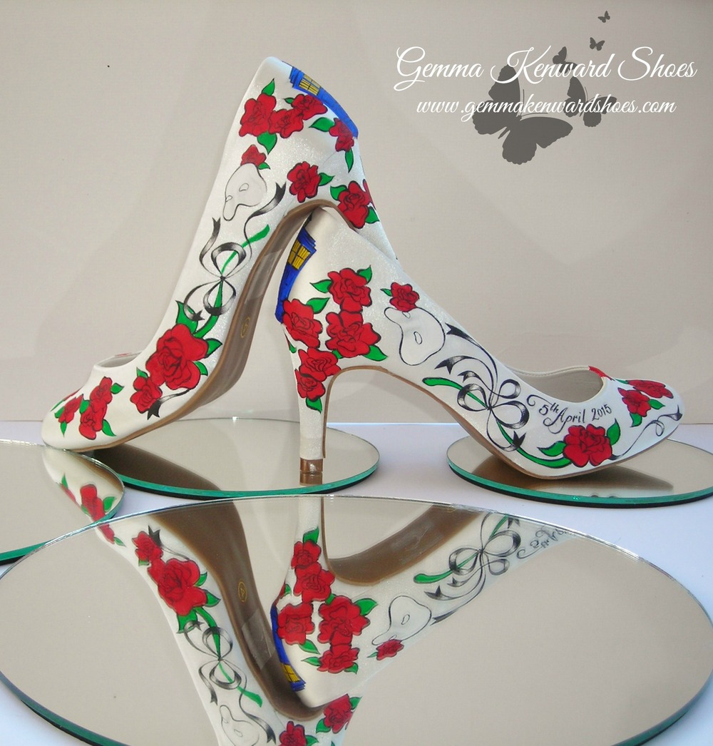 Hand Painted Red and Blue Bridal Shoes with a Tardis Painted on the Heels!
