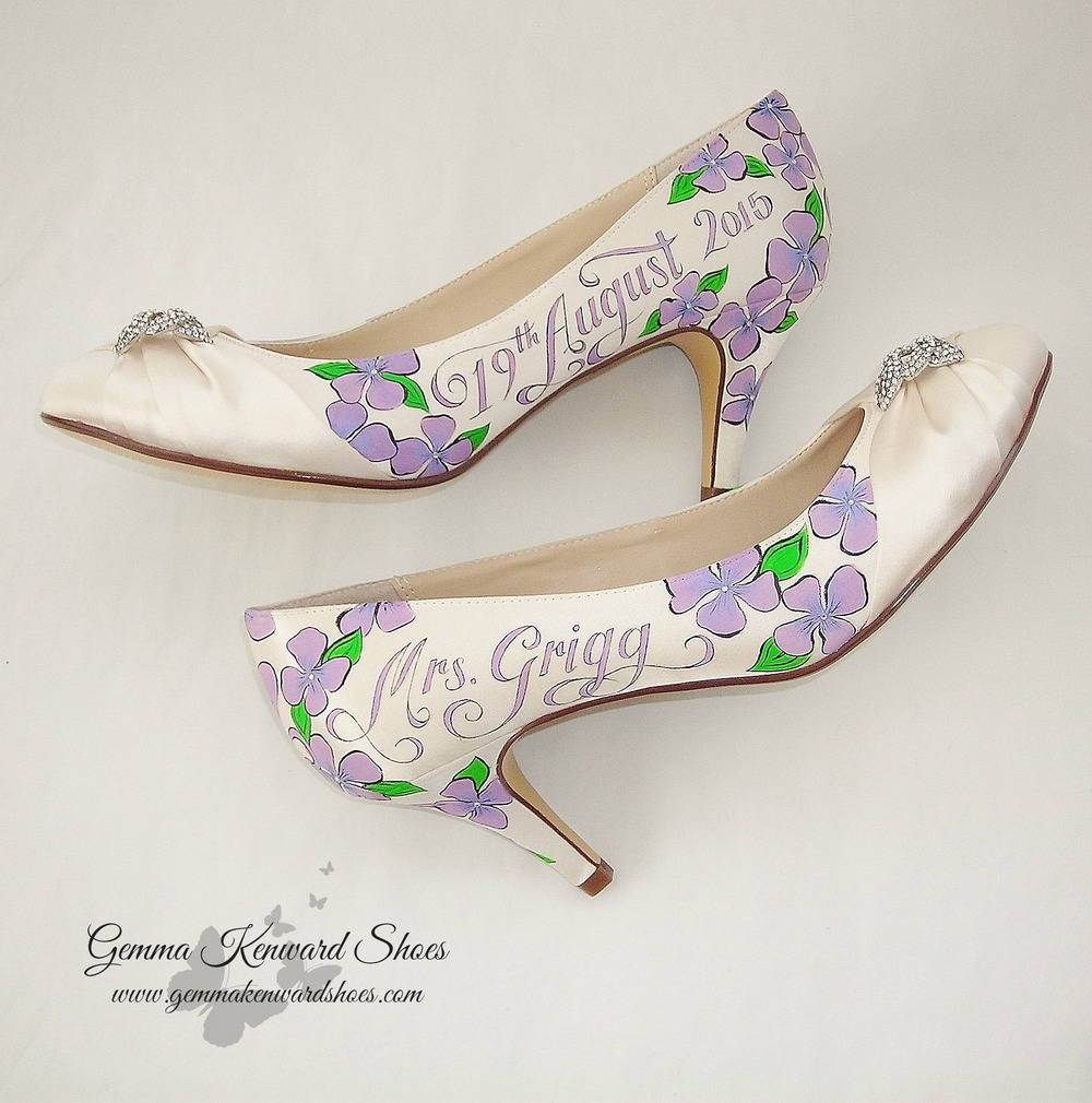 Hand Painted Lilac flowers wedding shoes