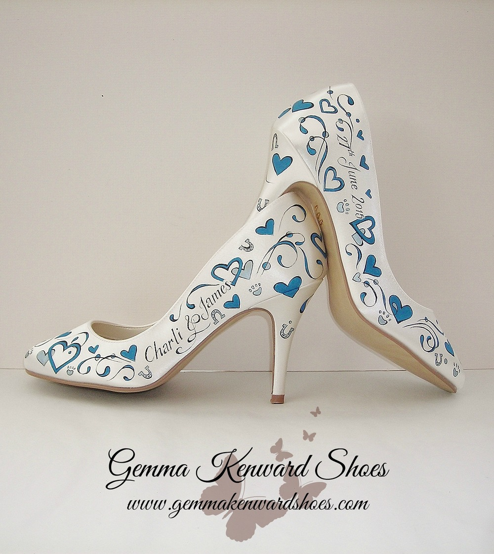 Hand Painted wedding shoes in teal and silver.jpg