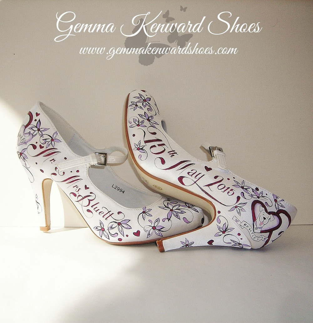 Personalised wedding shoes painted with plum and lilac flowers