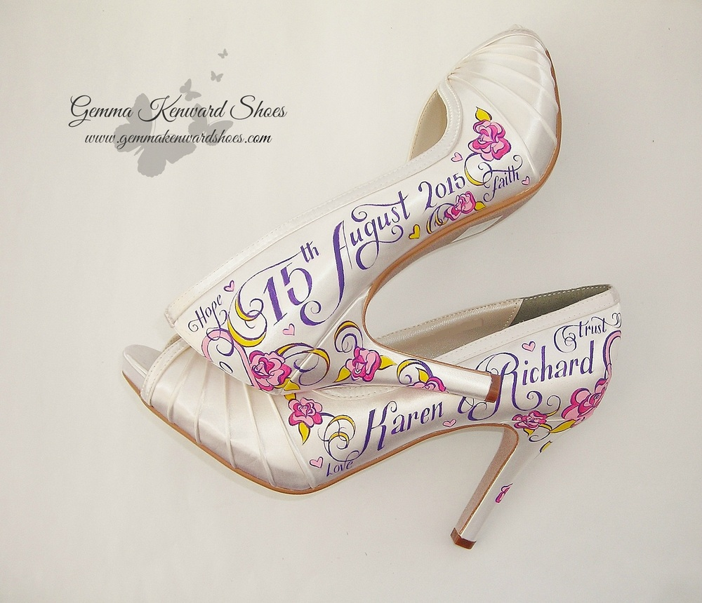 Personalised wedding shoes in purple and pink with yellow