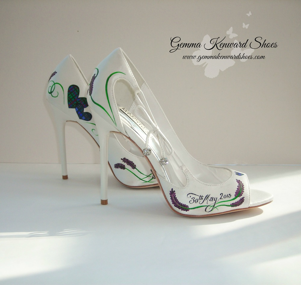 Tartan painted wedding shoes, painted with Brigadoon theme