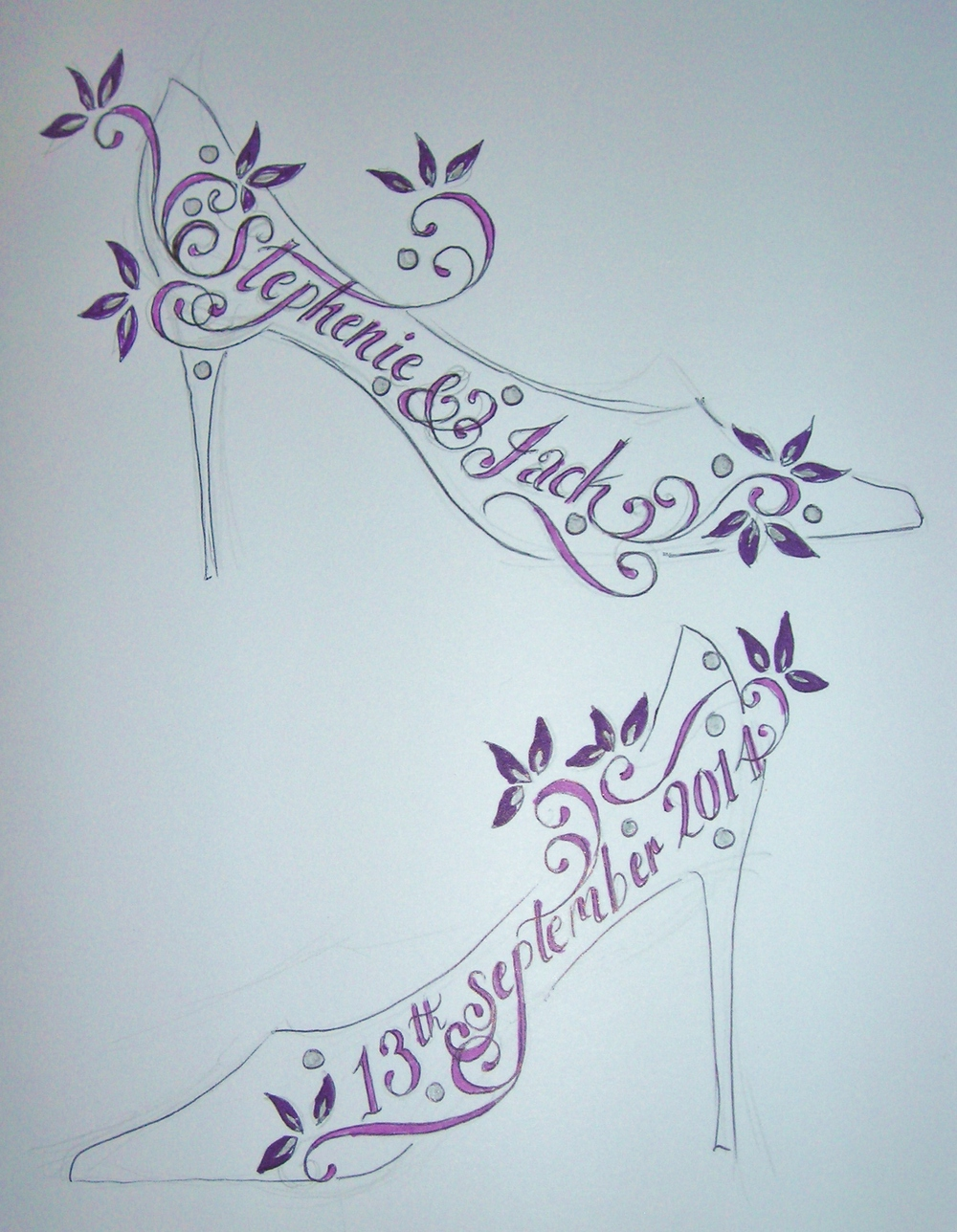 Purple flowers on a pair of court wedding shoes