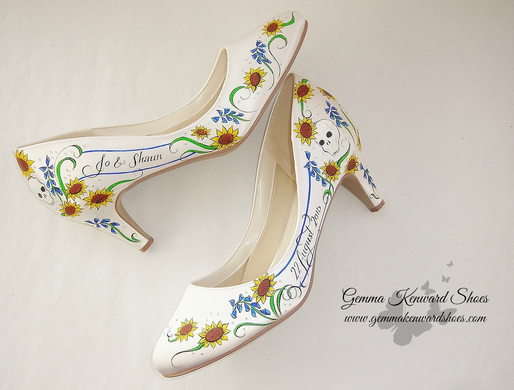 Hand Painted yellow, blue and green wedding shoes with diamonds/diamantes and skulls wedding shoes