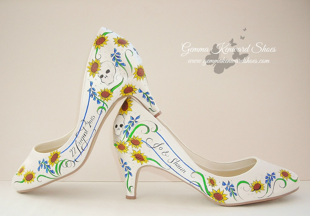 Customised bridal shoes personalised with skulls and sunflowers in sunshine yellow