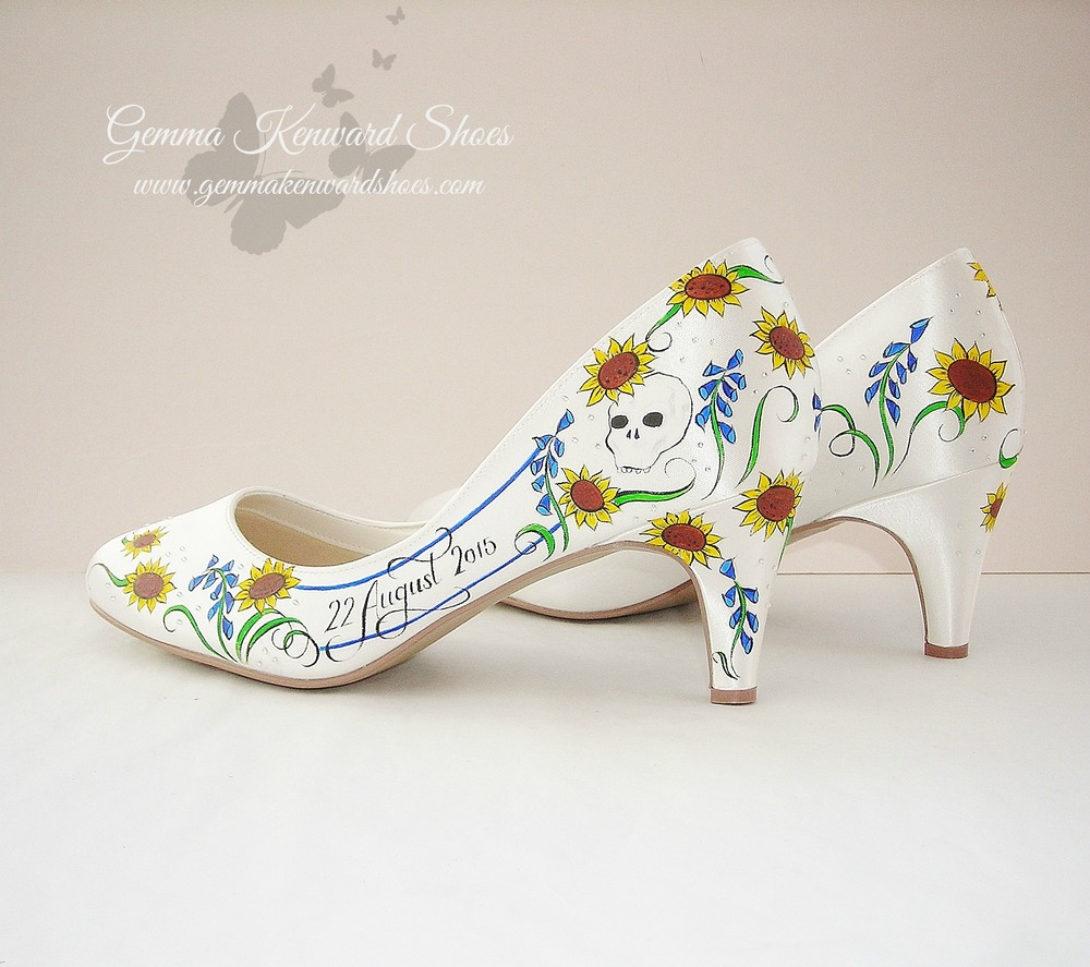 Hand Painted wedding shoes with bluebells, sunflowers and skulls