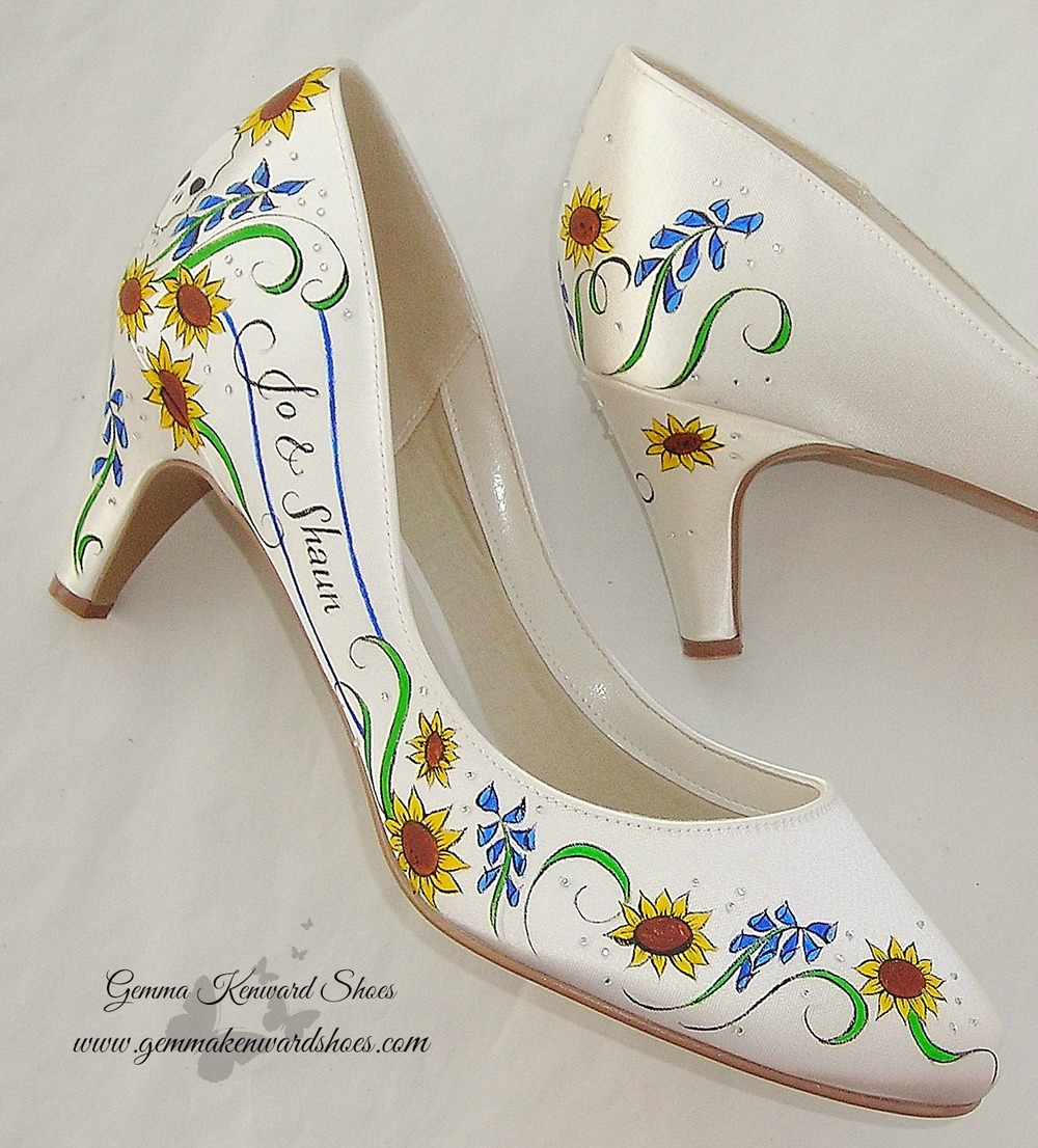 Court shoes for a wedding hand painted with personalised sunflowers, bluebells and skulls