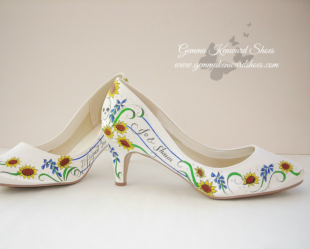 Custom painted wedding shoes illustrated with skulls, diamantes and sunflowers for a bride in the UK