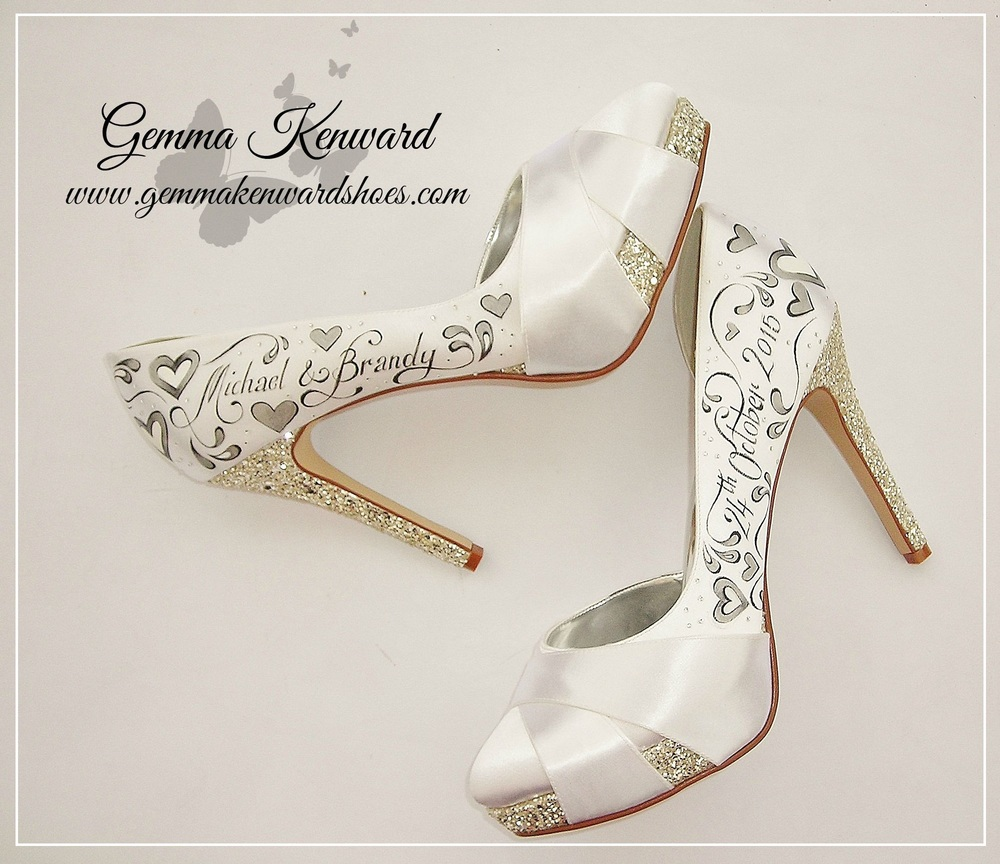 Hand painted bridal shoes for our competition winner in America!