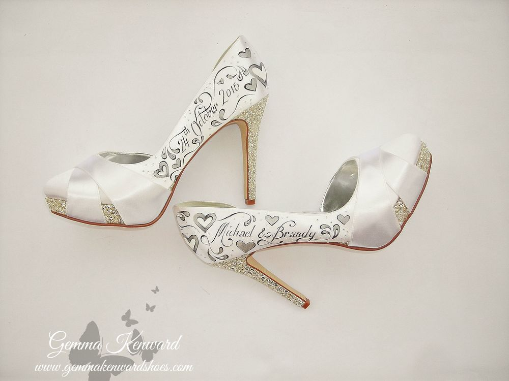 Hand painted bridal shoes personalised with silver hearts and diamantes
