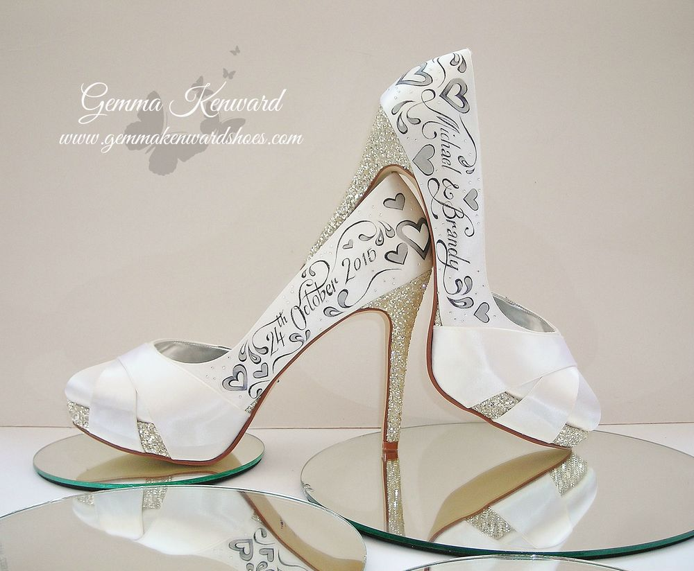 Personalised wedding shoes with silver hearts and diamantes, including names of the bride and groom and the wedding dates