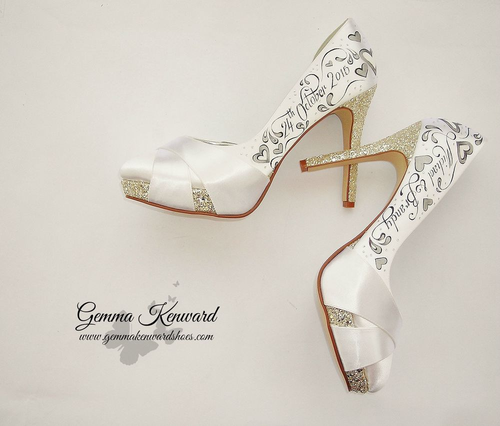White silk bridal shoes customised silver hearts